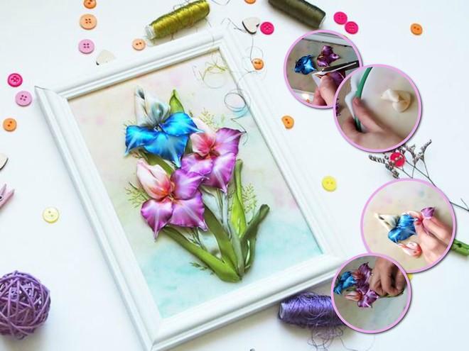 Инструкция: вышивка шелковыми лентами весенний букет ирисов
