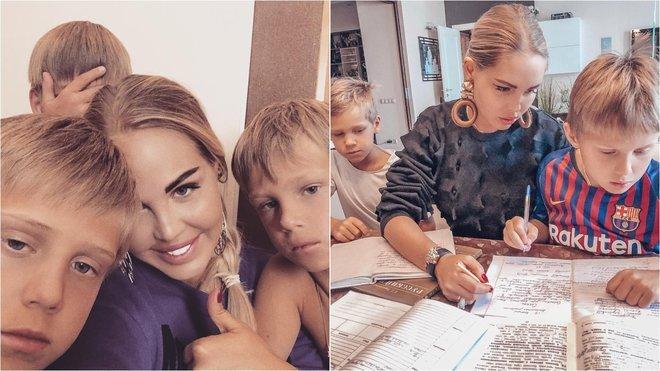Мария Погребняк с сыновьями делает уроки